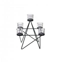 Black Glass & Metal Lantern