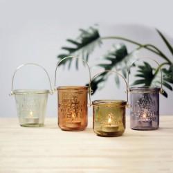 Brown Glass & Metal Lantern