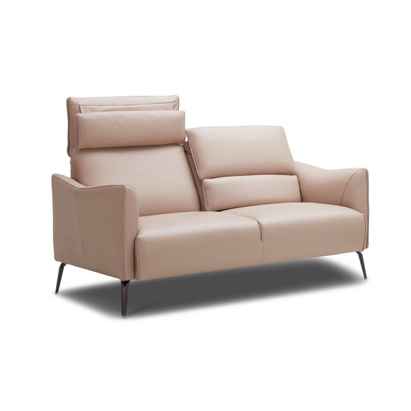 Pink Leather Sofa: KATE 3-Seater Light Pink Leather Sofa